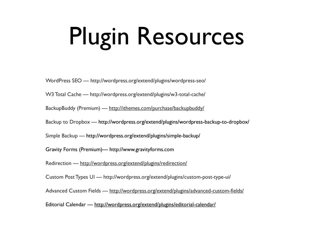 Plugin Resources WordPress SEO — http://wordpre...