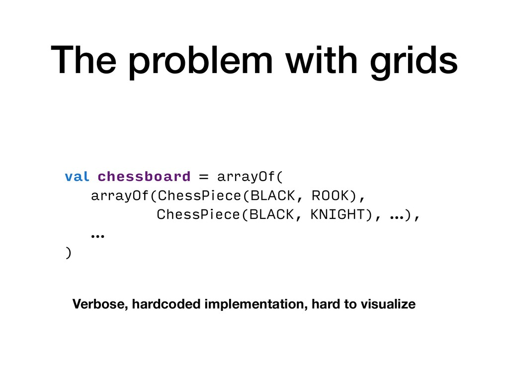 The problem with grids val chessboard = arrayOf...