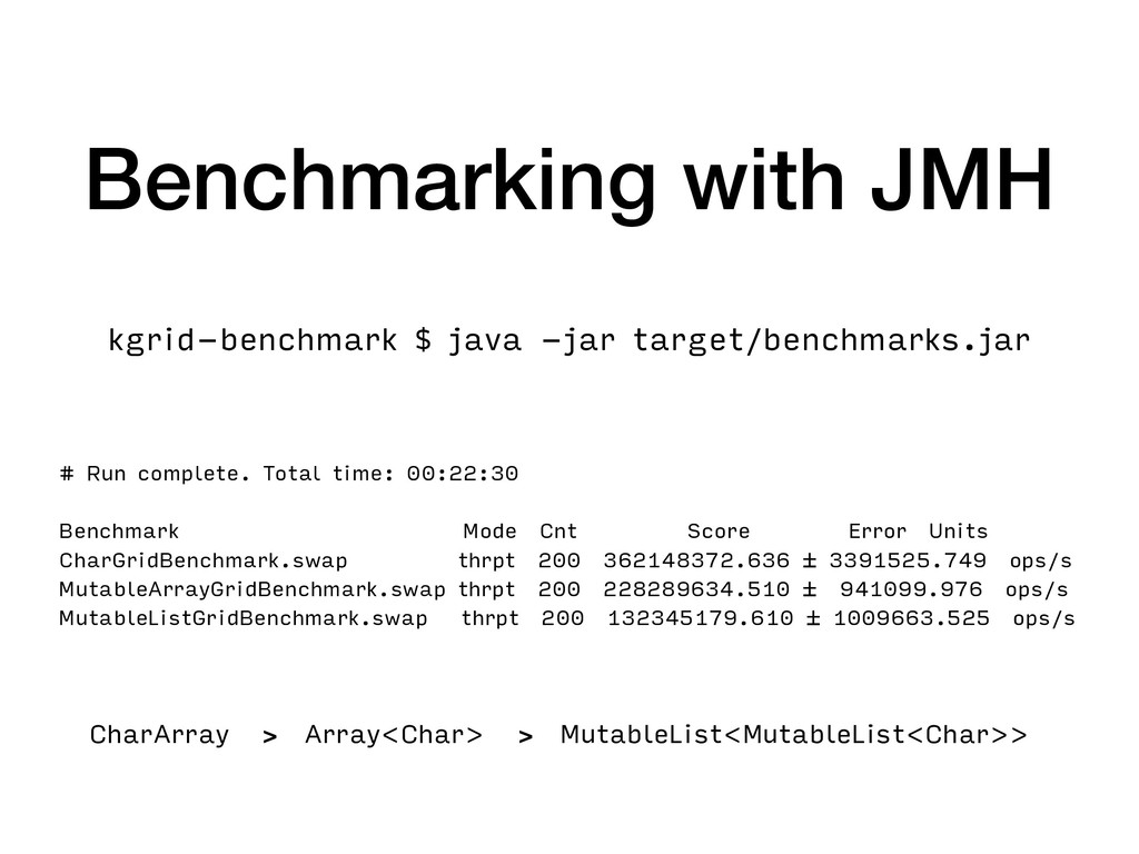 Benchmarking with JMH # Run complete. Total tim...
