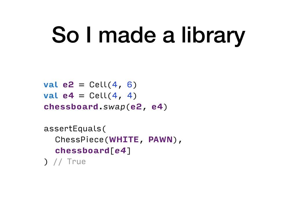 So I made a library val e2 = Cell(4, 6) val e4 ...