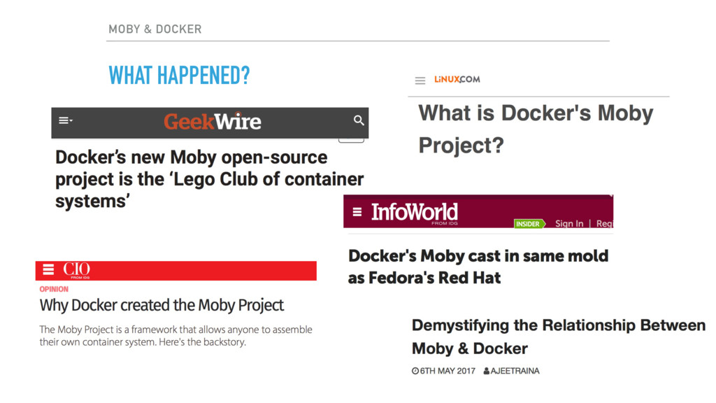 MOBY & DOCKER WHAT HAPPENED?