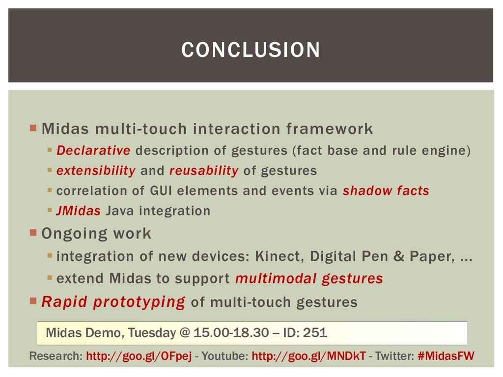 CONCLUSION  Midas multi-touch interaction fram...