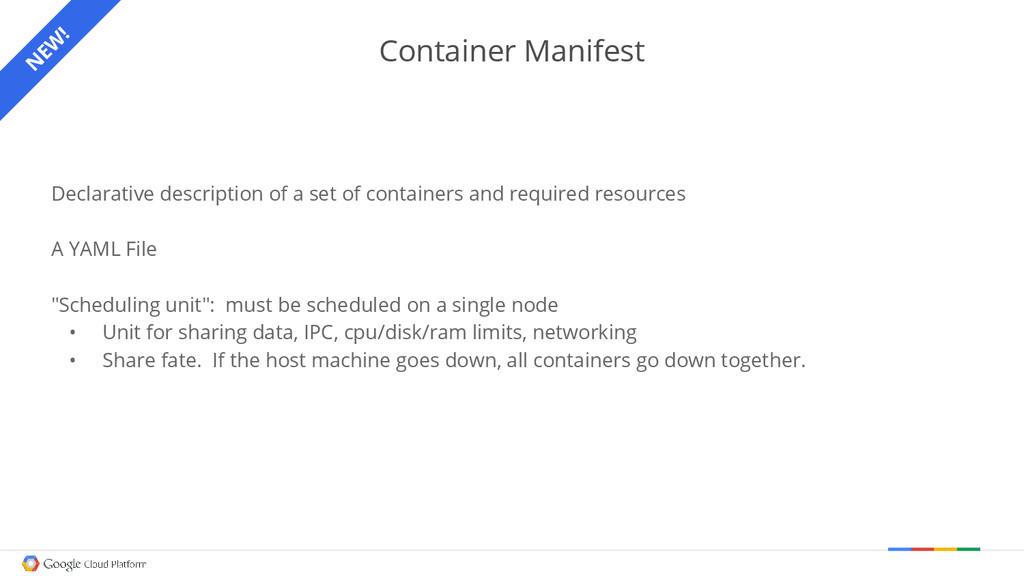Container Manifest Declarative description of a...