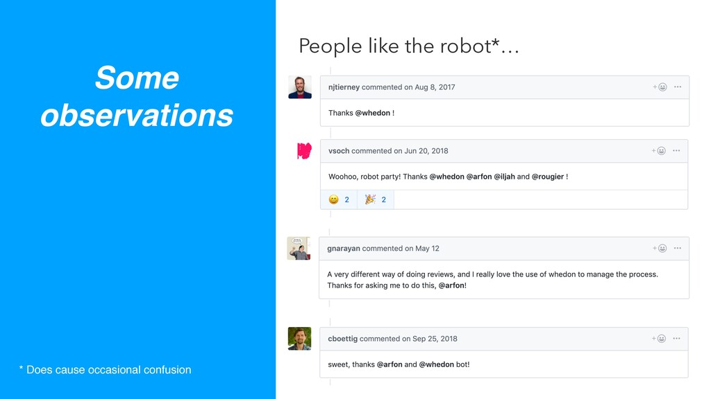 Some observations People like the robot*… * Doe...