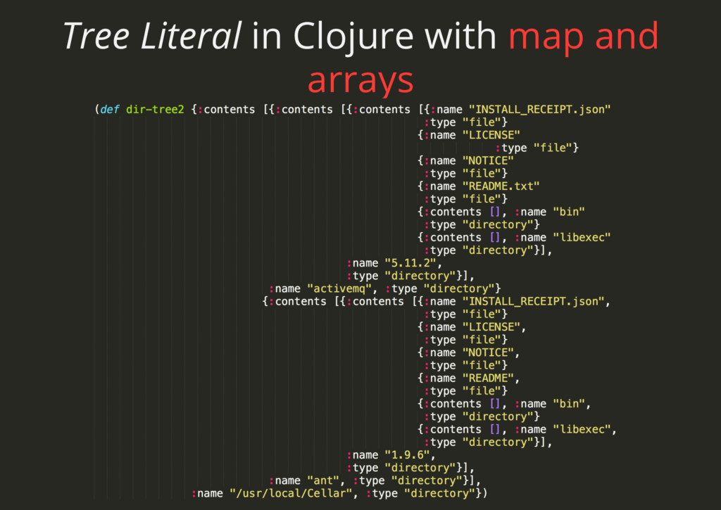Tree Literal in Clojure with map and arrays