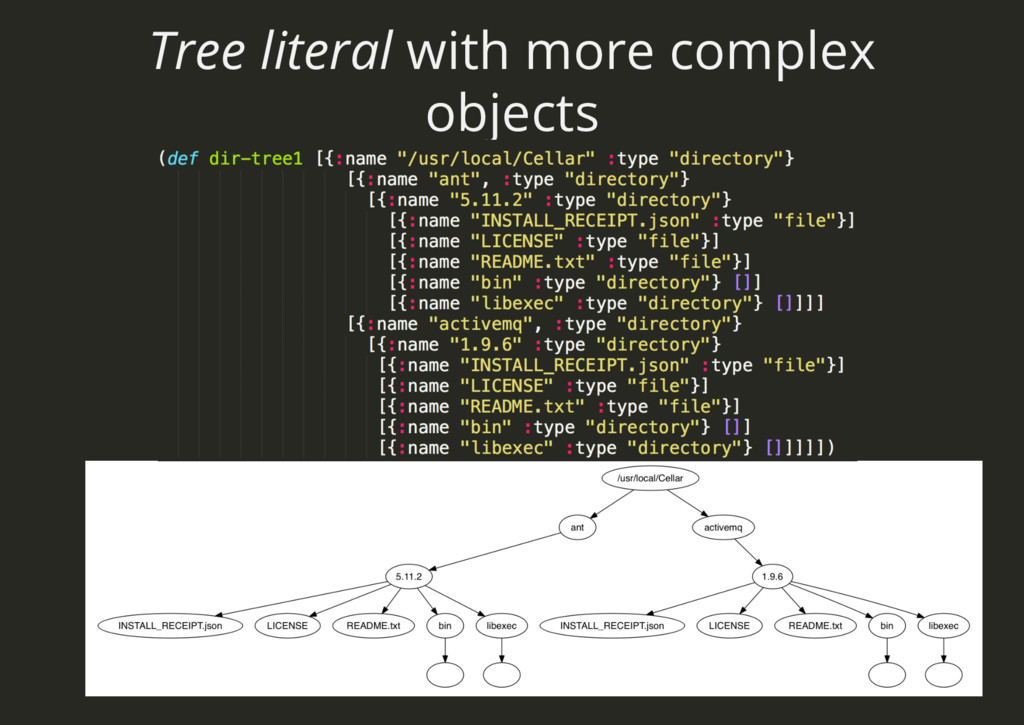 Tree literal with more complex objects