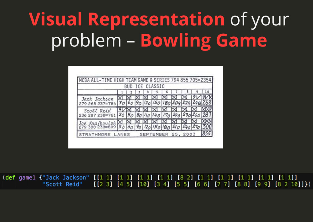 Visual Representation of your problem – Bowling...
