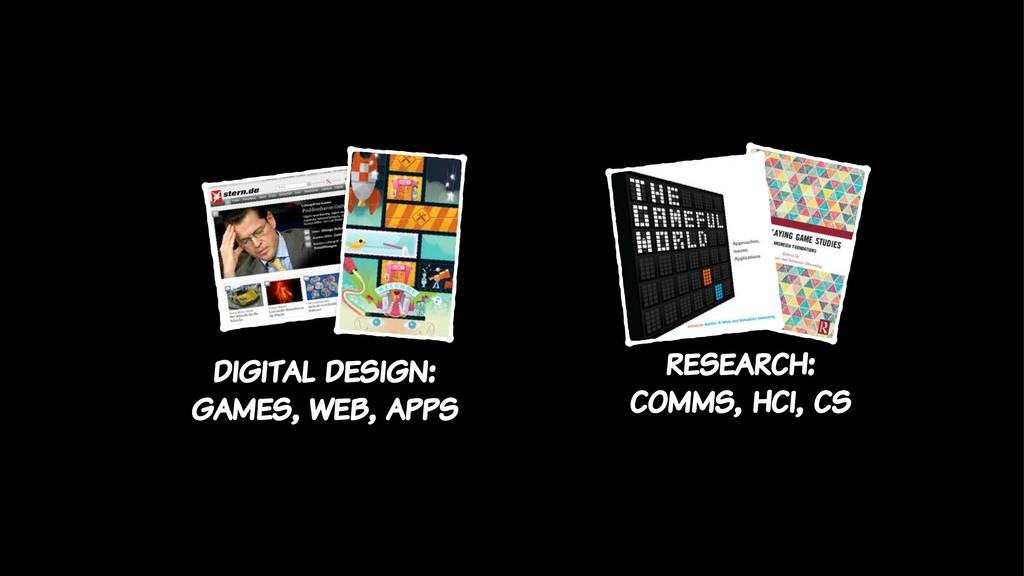 research: comms, hci, cs digital design: games,...