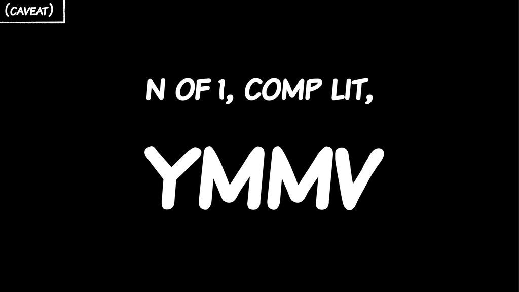 n of 1, comp lit, ymmv (caveat)