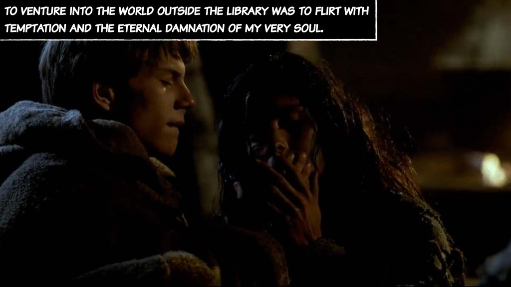 to venture into the world outside the library w...
