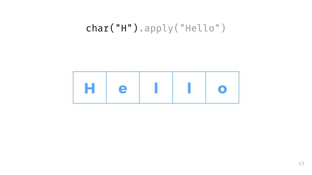 """17 H e l l o char(""""H"""").apply(""""Hello"""")"""