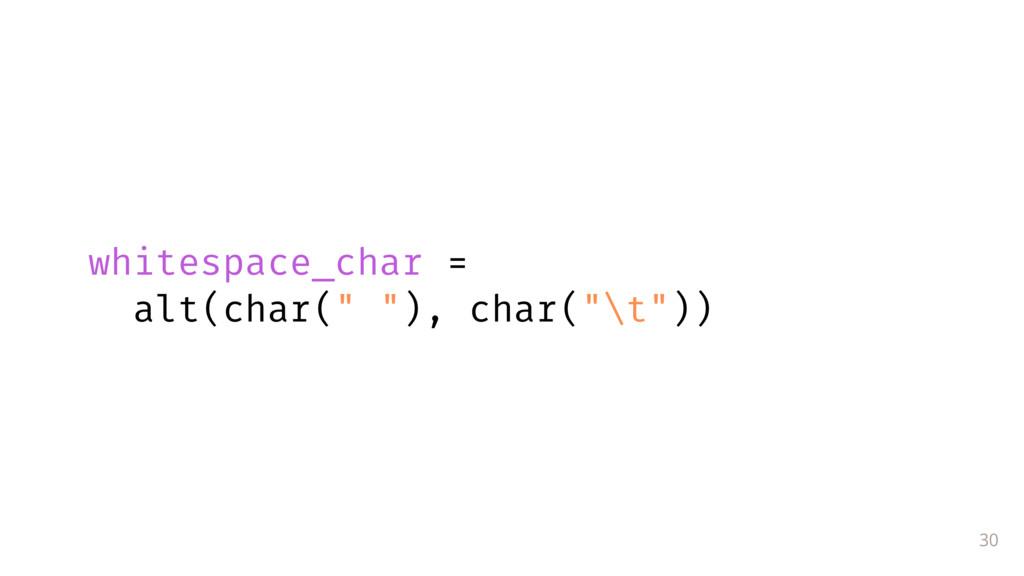"30 whitespace_char = alt(char("" ""), char(""\t""))"