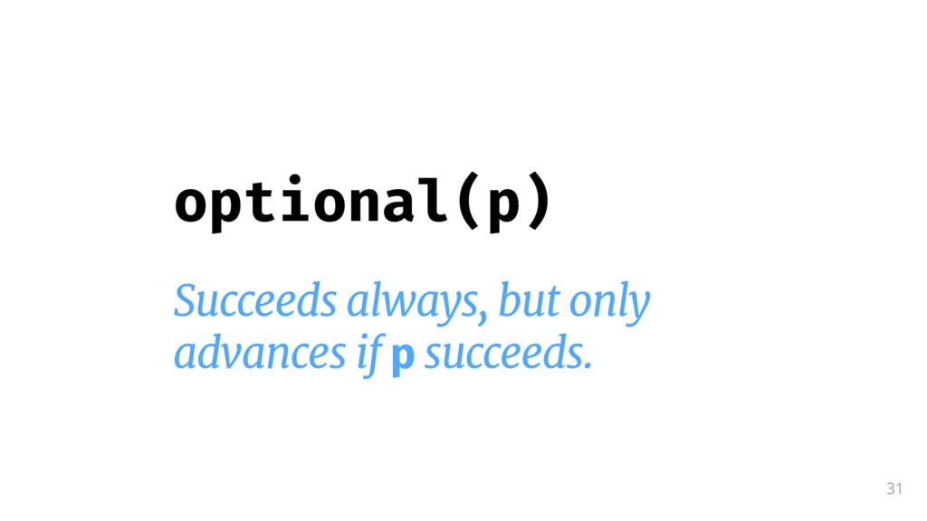 31 optional(p) Succeeds always, but only  advan...