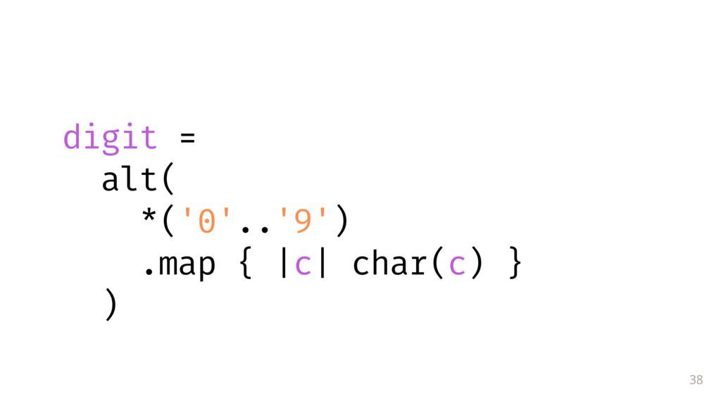 38  digit = alt( *('0'..'9') .map { |c| char(c...