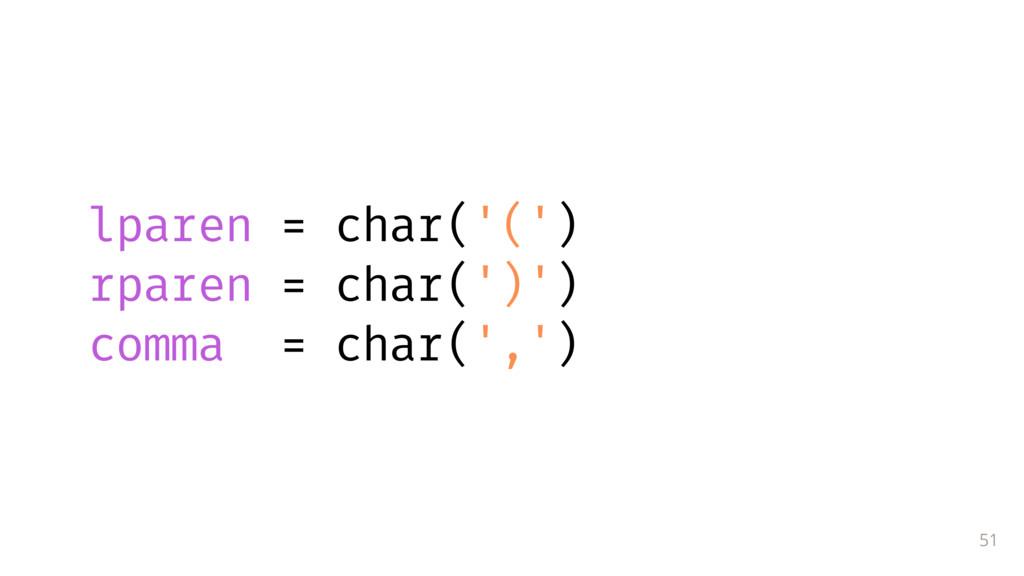 51 lparen = char('(') rparen = char(')') comma ...