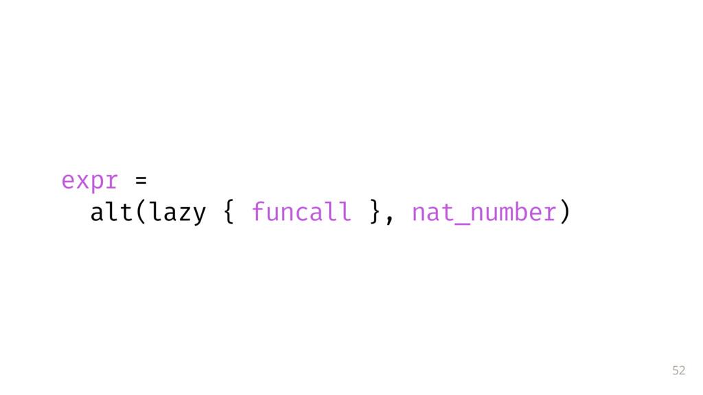 52 expr = alt(lazy { funcall }, nat_number)