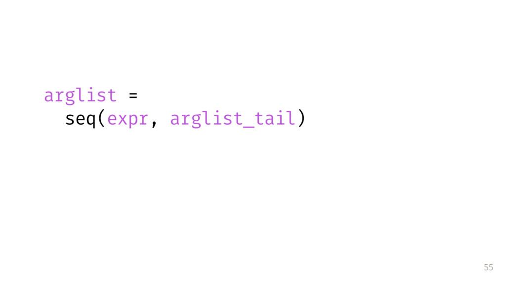 55 arglist = seq(expr, arglist_tail)