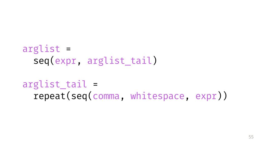 55 arglist = seq(expr, arglist_tail) arglist_...