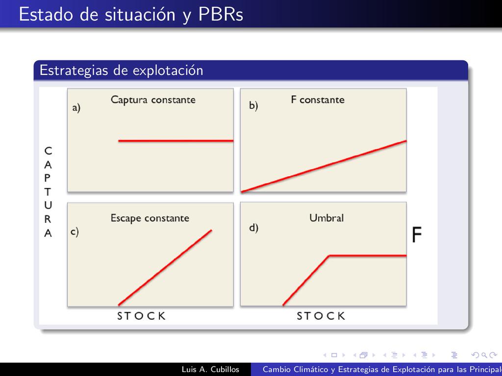 Estado de situaci´ on y PBRs Estrategias de exp...