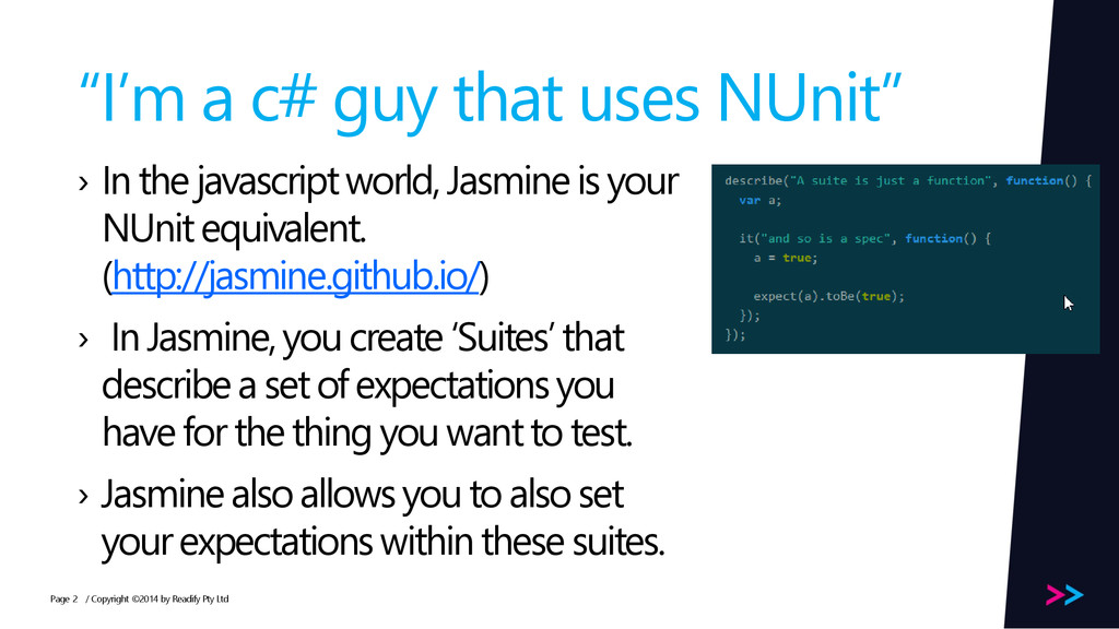 """Page """"I'm a c# guy that uses NUnit"""" › In the ja..."""