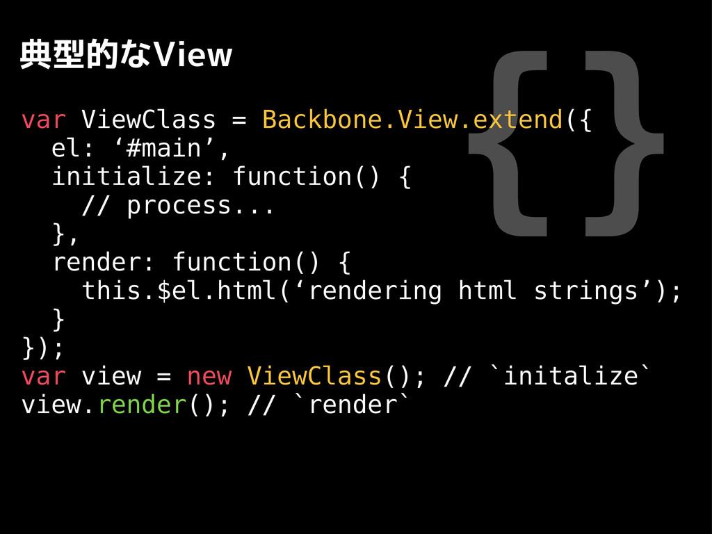 {} 典型的なView var ViewClass = Backbone.View.exten...