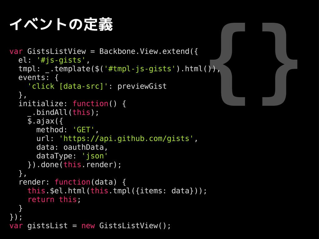 {} イベントの定義 var GistsListView = Backbone.View.ex...