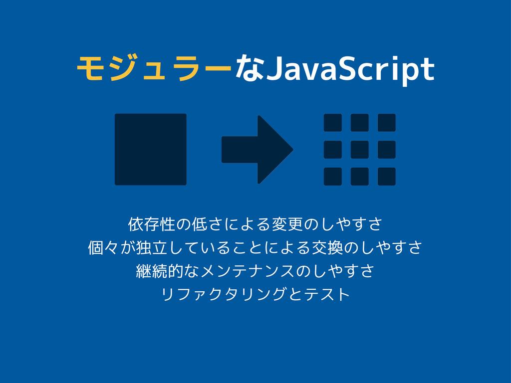 モジュラーなJavaScript 依存性の低さによる変更のしやすさ 個々が独立していることによ...