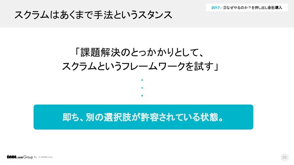 © DMM.com 25 「課題解決のとっかかりとして、 スクラムというフレームワークを試す」...