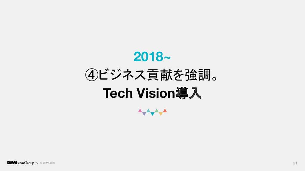© DMM.com 2018~ ④ビジネス貢献を強調。 Tech Vision導入 31