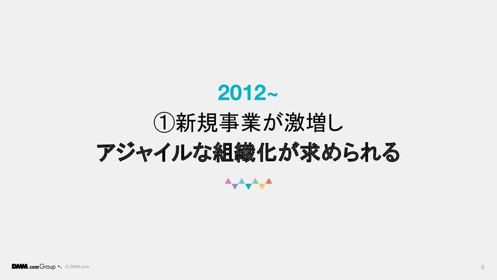 © DMM.com 2012~ ①新規事業が激増し アジャイルな組織化が求められる 6