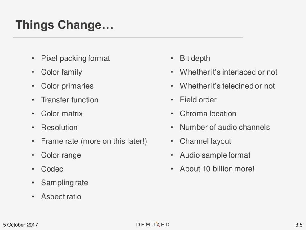 Things Change… 3.5 5 October 2017 • Pixel packi...
