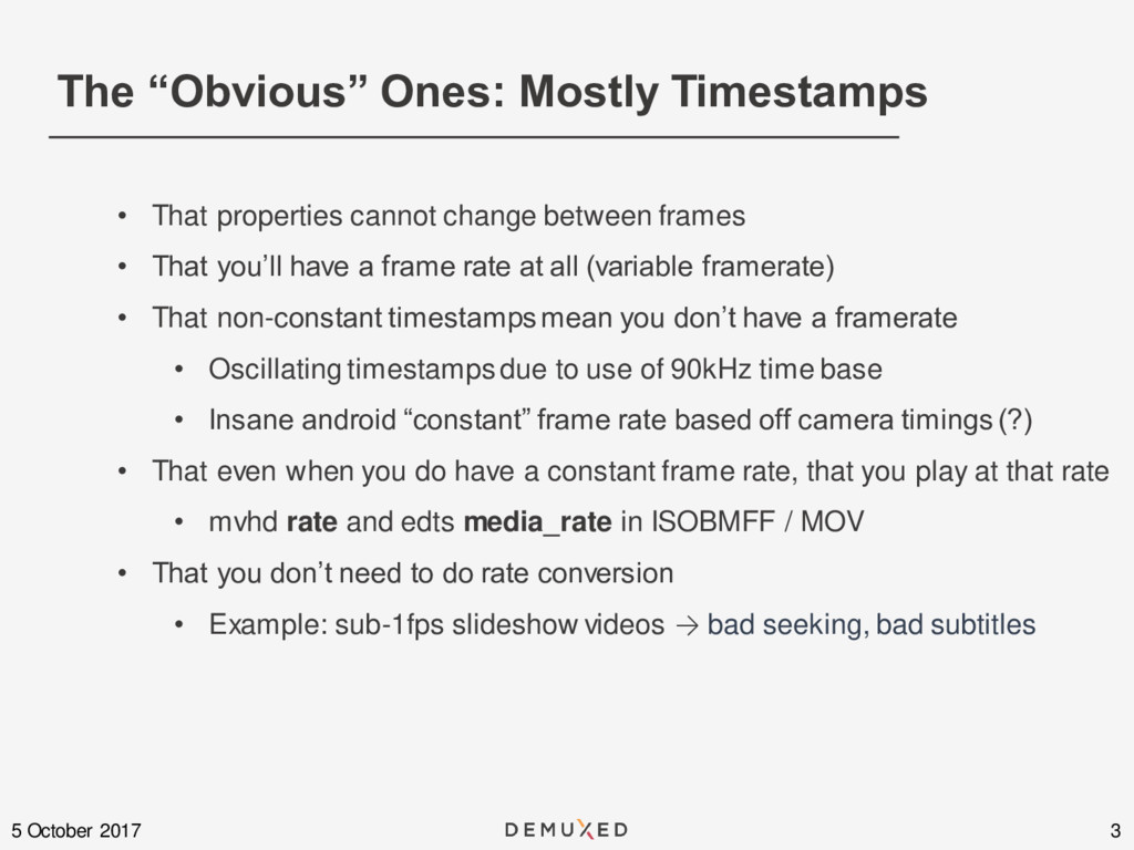 """The """"Obvious"""" Ones: Mostly Timestamps 3 5 Octob..."""
