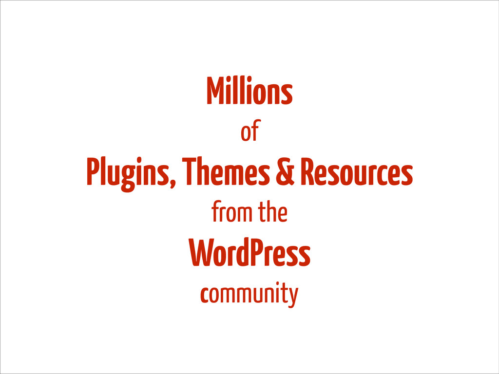 Millions of Plugins, Themes & Resources from th...