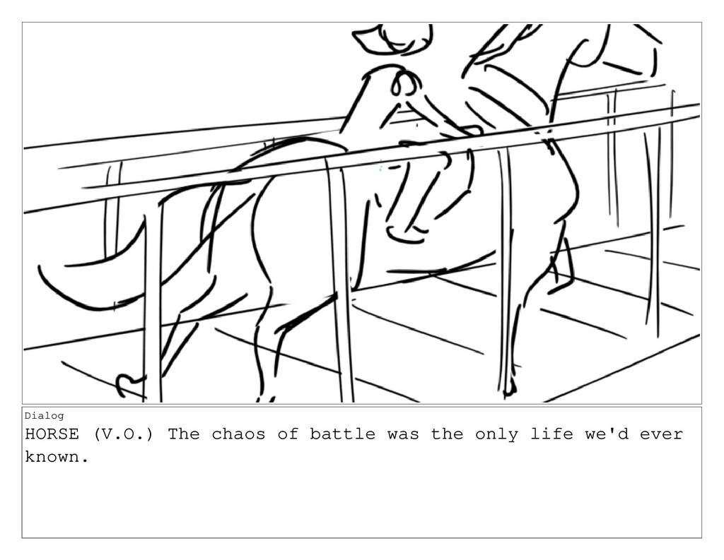 Dialog HORSE (V.O.) The chaos of battle was the...