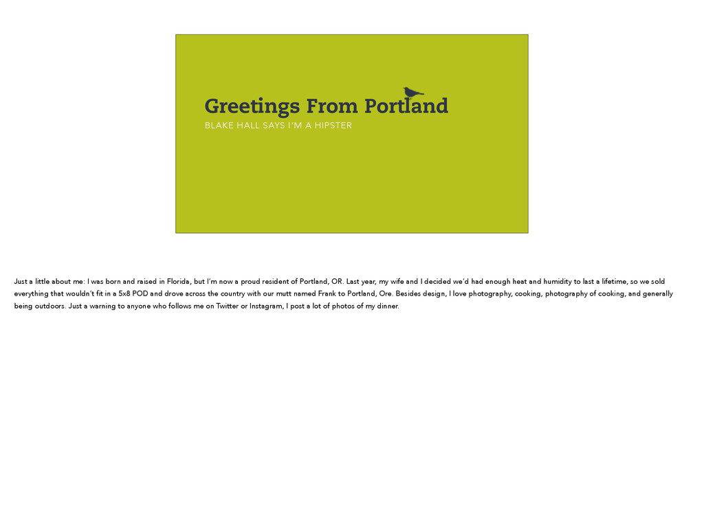 Greetings From Portland BLAKE HALL SAYS I'M A H...
