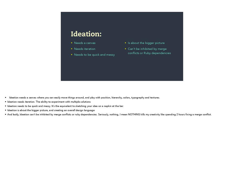 • Needs a canvas • Needs iteration • Needs to b...