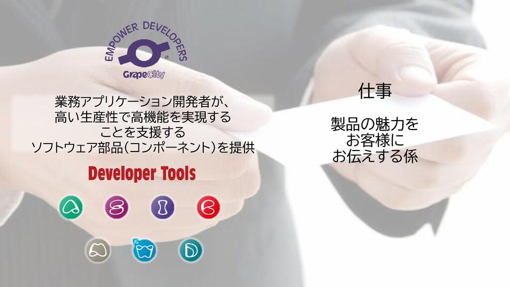 仕事 製品の魅力を お客様に お伝えする係 業務アプリケーション開発者が、 高い生産性で高機能...