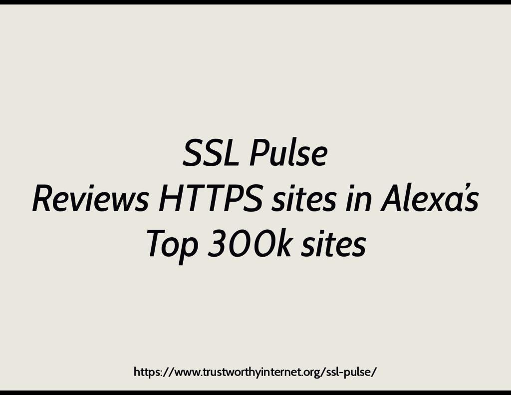 SSL Pulse Reviews HTTPS sites in Alexa's Top 30...