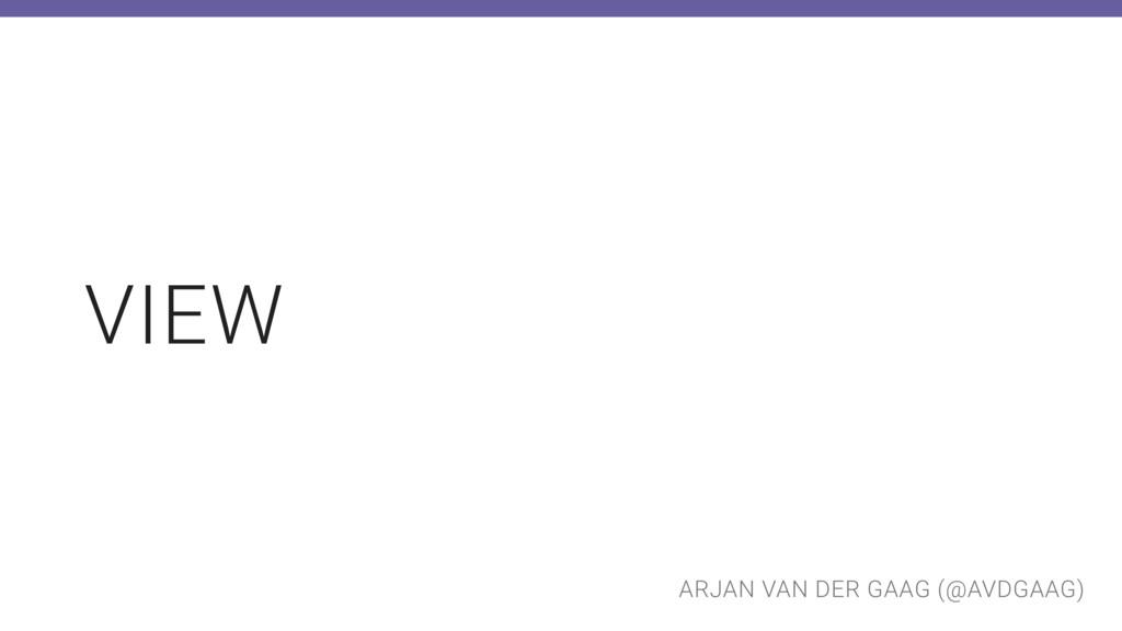 ARJAN VAN DER GAAG (@AVDGAAG) VIEW