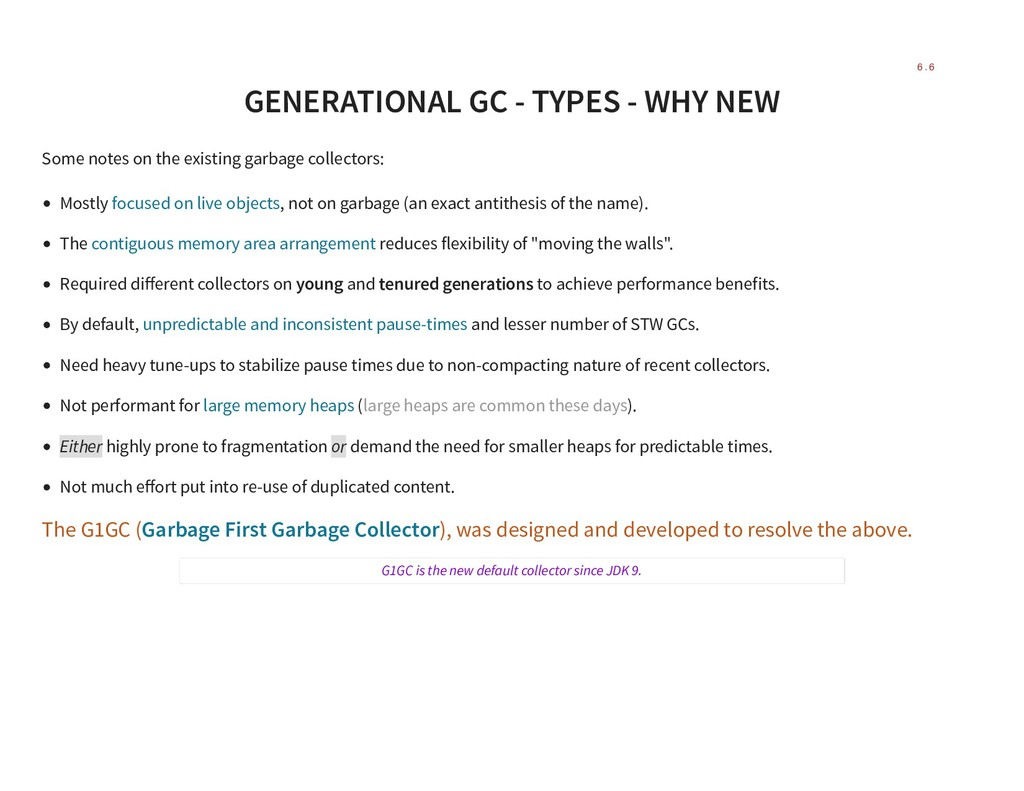 GENERATIONAL GC - TYPES - WHY NEW Some notes on...