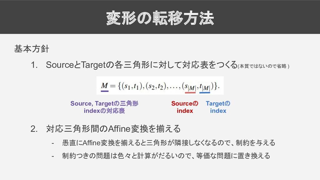 変形の転移方法 基本方針 1. SourceとTargetの各三角形に対して対応表をつくる(本...