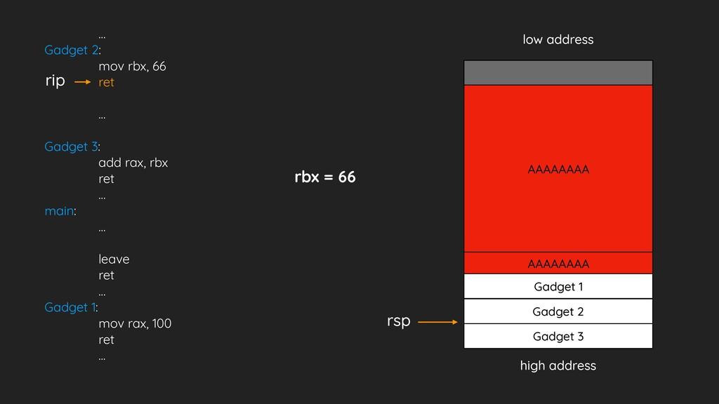 … Gadget 2: mov rbx, 66 ret … Gadget 3: add rax...
