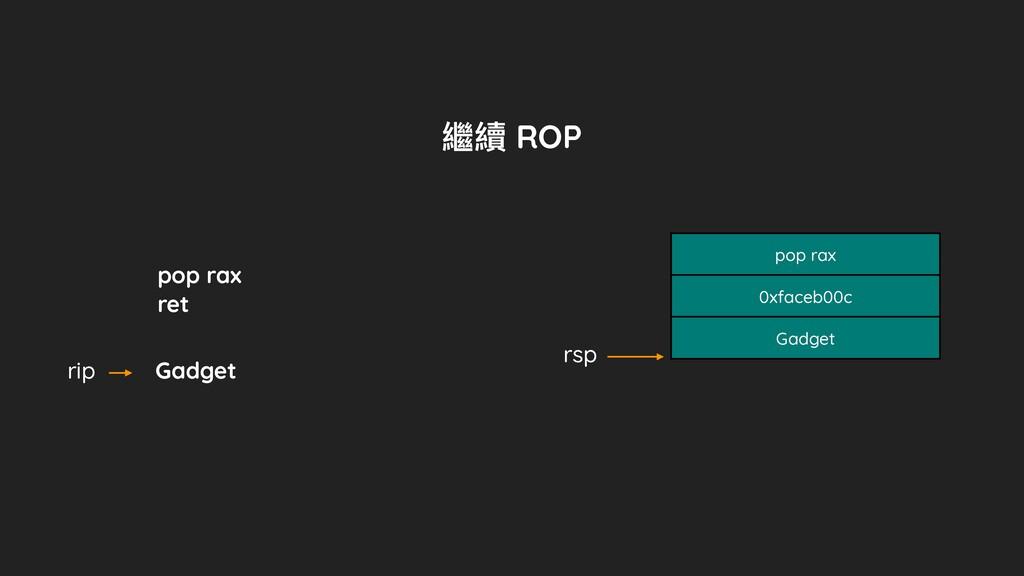 pop rax ret rip rsp pop rax 0xfaceb00c Gadget 繼...