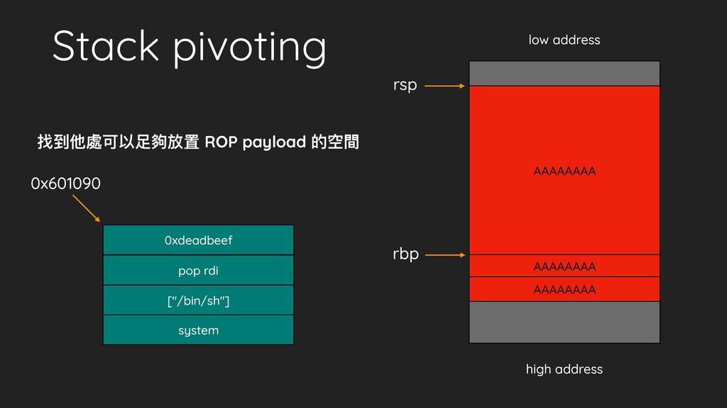"Stack pivoting [""/bin/sh""] system pop rdi low a..."