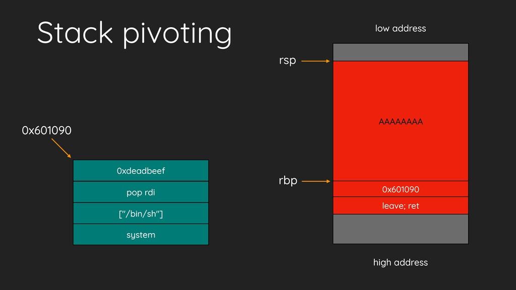 Stack pivoting low address high address leave; ...
