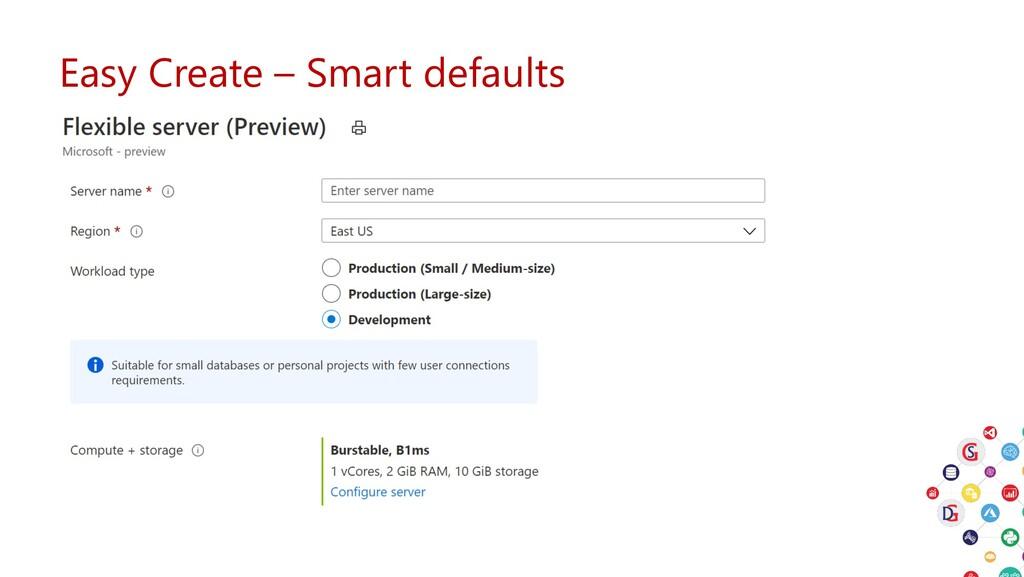 Easy Create – Smart defaults