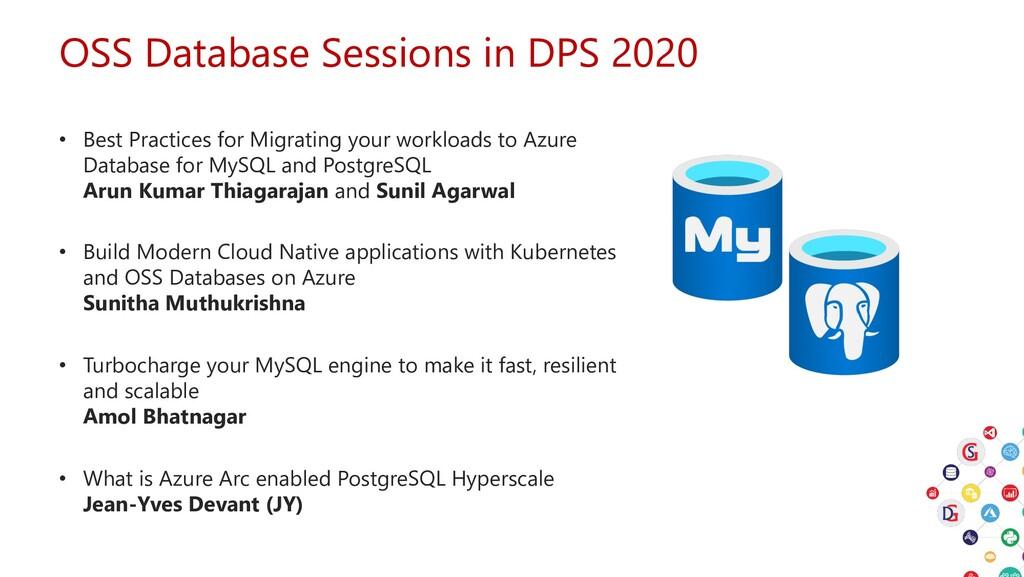 OSS Database Sessions in DPS 2020 • Best Practi...