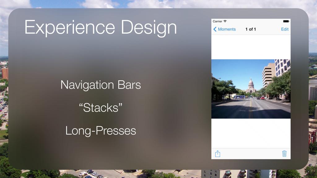 "Experience Design Navigation Bars ""Stacks"" Long..."