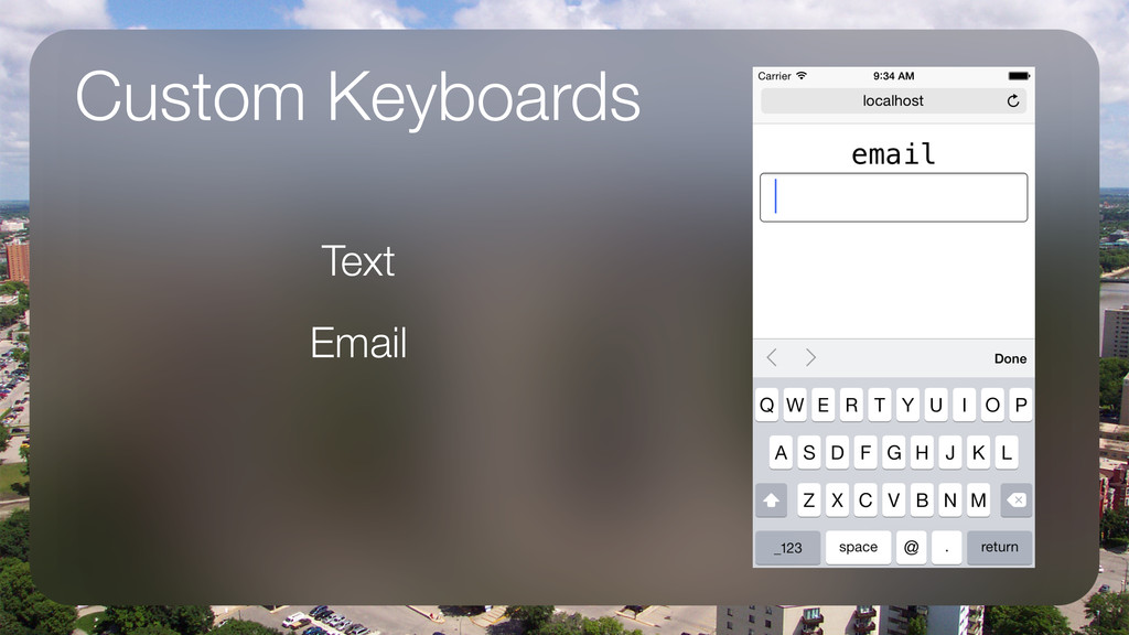 Custom Keyboards Text Email !