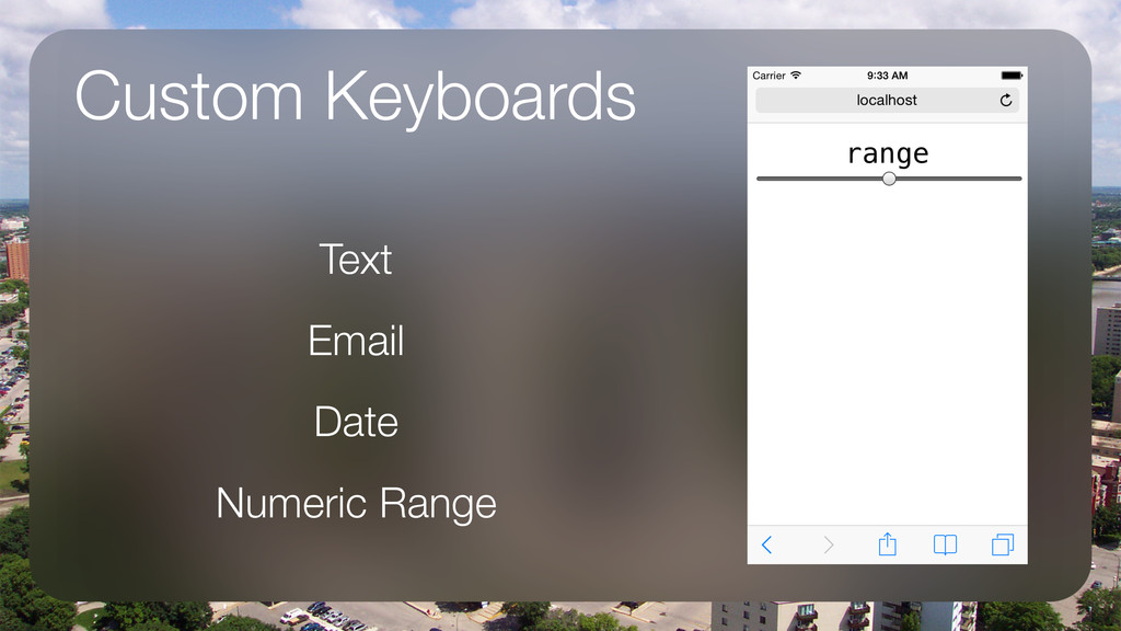 Custom Keyboards Text Email Date Numeric Range